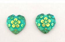 RESIN GREEN FLOWER LOVE HEART STUD EARRINGS 12MM