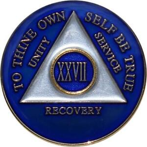 Recovery Mint 27 Year AA Medallion - Tri-Plate Twenty-Seven Year Chip/Coin - Blu