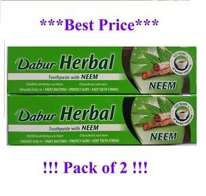 2 x DABUR NEEM Herbal Toothpaste 100ml No Added Fluoride Suitable For Vegetarian
