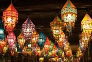 250 Pcs Lot of Indian Handmade Decorative Cotton Lampshade Lanterns Collapsible