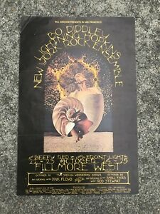Bill Graham Presents Bo Diddley Pink Floyd Lightning Hopkins Concert Poster 1970