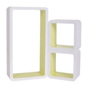 Set 3 Mensole Cubo da Parete Libreria Ripiano Legno Bianco Giallo 20x36x9