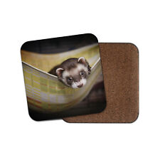 Adorable Baby Ferret Coaster - Cute Wildlife Sleeping Animals Cool Gift #16853