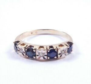 Sapphire and Diamond Ring eternity 9 carat gold size Q Nice quality