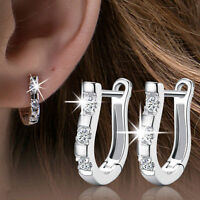 Women's Popular 925 Silver Rhinestone Crystal White Gemstones Hoop Earrings Gift