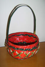 """8"""" Diameter Red Gold Basket Red Riding Hood Fairytale Fancy Dress Costume Used"""