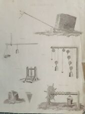 1823 Antique Print; Mechanics (lever, screw, pulley, wedge...)