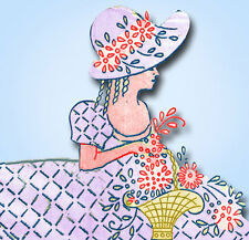 1930s Betty Burton Embroidery Transfer 1521 Garden Gal Pillowcases Uncut ORIG