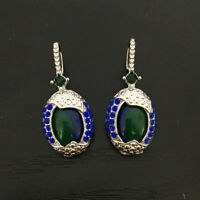 Women Hoop Earrings Arrival Real Blue Opal Sapphire  Ear Hook Wedding Jewelly