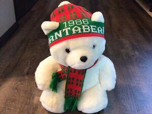 Vintage 1986 Dayton Hudson Santa Bear With Scarf And Stocking Hat Cap