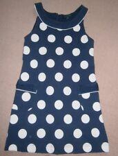 Pumpkin Patch navy blue white polka dot dress age 10 140cm lined quality