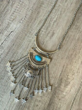 Long Silver Chain Turquoise Bohemian Boho Pendant Statement Necklace