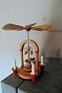 S6-  Org. Erzgebirge Weihnachtspyramide Holz Handarbeit  Engel - Figuren H 20 cm