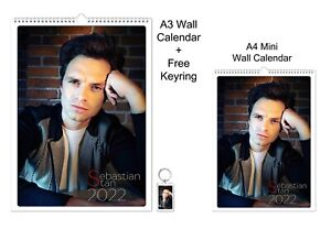 Sebastian Stan 2022 A3 A4 Wall Office Calendar + Key Ring