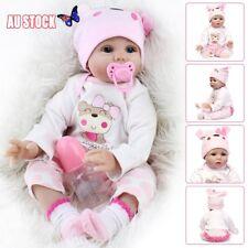 22''Lifelike Baby Girl doll Handmade Silicone Vinyl Reborn Newborn Dolls+Clothes