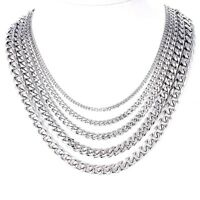 3/5/7mm MENS Boys Chain Silver Tone Curb Link Stainless Steel Necklace 18-36''
