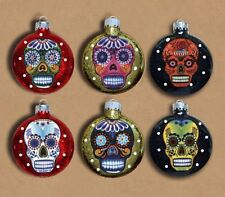 Sugar Skulls Decorated Glass Christmas Ornaments - Set of 6