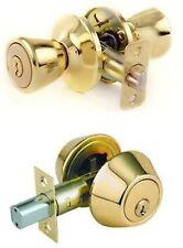 Lion Locks LICO0705 Tulip Entry Door Knob + Keyed Alike Single Cylinder Deadbolt