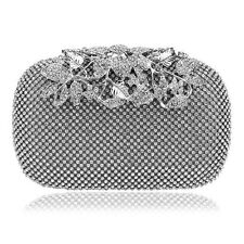 Silver Crystal Studded Box Clutch Bag Flower Clasp Weddings, Bridal, Party, Prom