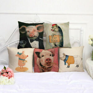 "1"" Throw Printed Pillow Pig Square Sofa Cover Cotton Linen Case Waist Cushion"