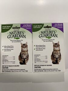 (2) Pack Sergeant's Natures Guardian Flea & Tick Treatment Cats Kitten