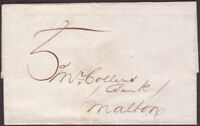 1833 PRE-STAMP TOO LATE WRAPPER YORK TO MALTON WITH '5' INSTRUCTIONAL MARK