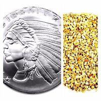 1 TROY OZ .999 SILVER INCUSE INDIAN BU + 10 PIECE ALASKAN PURE GOLD NUGGETS