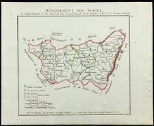 1802 - Carte ancienne département des Vosges de Chanlaire. France