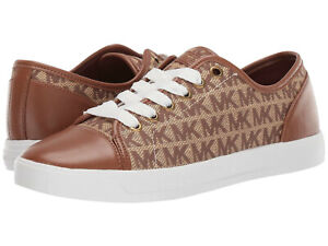 New! MICHAEL KORS ~Size 9.5~ MK City MK Logo Sneakers Shoes Lace-up NWB Brown