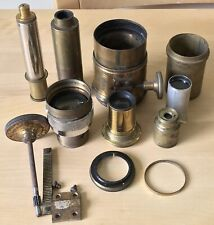 COLLECTION of antique and later brass MICROSCOPE & CAMERA LENSES