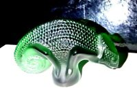 Lalique France Art Glass Chameleon, Green  Signed