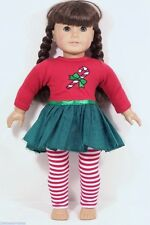 Christmas Candy Cane TuTu-Dress Legging Doll Clothes For 18 American Girl (Debs)