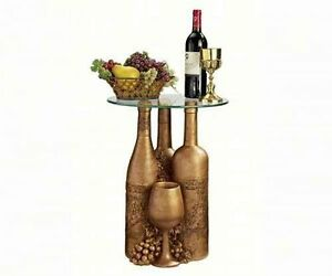 "EU32574 - Wine and Dine Sculptural Glass-Topped Table - 16"" dia. Top"