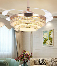"""42"""" Gold LED Invisible Ceiling Fan Light Modern Crystal Chandelier Lamp w/Remote"""