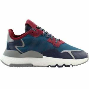 adidas Nite Jogger Lace Up    Kids Girls  Sneakers Shoes Casual   - Blue - Size