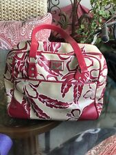Roxy/Quiksilver Red/Tan Tropical Print Weekender Luggage Tote Bag  16x12x8