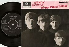 THE BEATLES ALL MY LOVING EP DANISH 45+PS 1964 MONO LAMINATED FLIPBACK