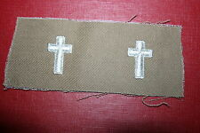 SCARCE ORIGINAL WW2 - KOREA US ARMY CHAPLAIN TAN CLOTH COLLAR BADGES COLOUR