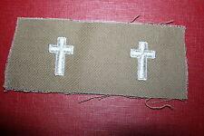 SCARCE ORIGINAL WW2 - KOREA US ARMY CHAPLAIN TAN CLOTH COLLAR BADGES COLOUR