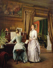 Charming Oil painting nice noblewomen young Duet playing piano & singer canvas