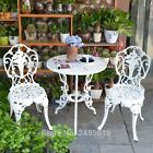 3pcs Set White Bistro Patio Set Table And 2 May Chairs Outdoor Garden Furniture