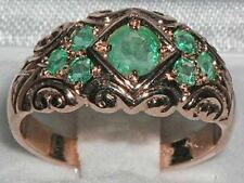 Solid 9ct Rose Gold Natural Emerald Vintage Style Band Ring