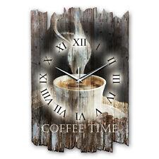 Kaffee Küche Landhaus Shabby Funk Wanduhr leise Funkuhr aus Holz *Kreative Feder