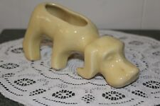 Vintage.Ceramic.Pale Yellow.Hound Dog, With Nose To The Ground.Planter