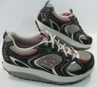 SKECHERS Shape Ups 11806 Womens Toning Walking Rocker Shoes Black Grey Pink Sz 9