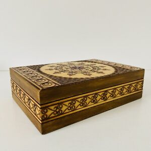 Vintage Wooden Box With Intricate Hand Carved Etched Detail Brown Green Red