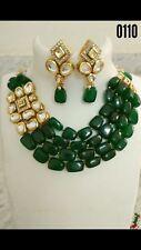 Four layered emerald stones with kundan pendant  Choker  Jewellery Set