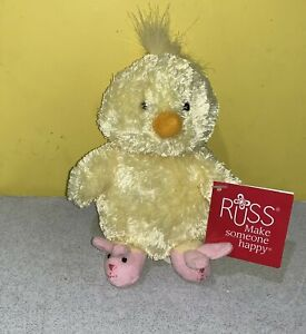 "6"" Russ Yellow Duck with Pink Bunny Slippers Bean Plush Lovie w/ Tag"