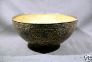 Indian paiper-mache Kashmir footed bowl with gold backgrounds