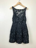 Theia Womens 6 Black Floral Applique Illusion Cocktail Dress Sequin Corset